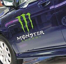 Una COPPIA MONSTER Portiera Corpo Adesivo Decalcomania Grafica BMW AUDI FORD PEUGEOT (Bianco)