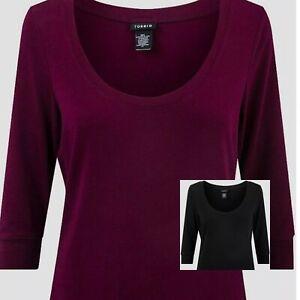 Ladies Torrid Half Sleeve Top Loose Fit Sizes 10 - 30 Black Or Red BNWT PostFree