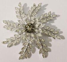 superbe broche bijou vintage couleur argent signé SARAH COV cristal diamant 3406