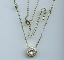 GOLD PLATED 3.5 CARAT TW CZ BY THE YARD ROUND CUT CZ HALO SOLITAIRE NECKLACE