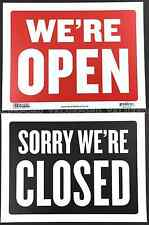 """We are open Sorry we are closed sign 9"""" x 12"""" Red Black Flexible plastic We're"""