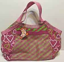 Little Missmatched Tote Bag Hearts and Strips 18 x 12 New with Tags