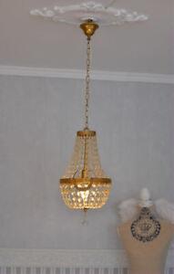 Antique Chandelier Ceiling Light France Crystal Lamp Basket Vintage Brass