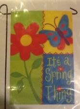 """Small 12 1/2"""" It's A Spring Thing Floral Theme Garden Art Flag New In Packag"""
