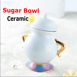 Limited Edition Beauty and The Beast Sugar Bowl Pot Ceramic Cartoon Xmas Gift
