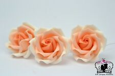 "peach ombre 2"" set of 3 sugar paste roses handmade,topper, wedding, edible"