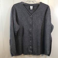 Eileen Fisher Charcoal Gray Button Up Cotton Relaxed Fit Cardigan Sweatshirt M