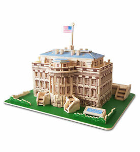 Puzzled 3D Puzzle The White House Wood Craft Construction Kit - 128 Pcs Pack