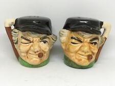 Vintage Japan Toby Salt & Pepper Shakers Old Cigar Man By MK