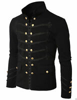 Mens Unique Modern Black Embroidery Black Military Napoleon Hook Jacket