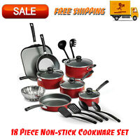 Primaware 18 Piece Non-stick Cookware Set, Kitchen Home, Pots & Pans Set, Red