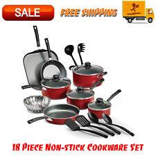 Primaware 18 Piece Non-stick Cookware Set, Kitchen Home, Pots & Pans Set, Red