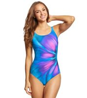 NEW Gottex Belle Fleur Blue Mastectomy High Neck One Piece Swimsuit Size 16