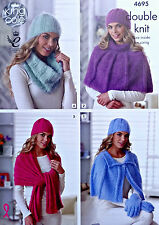 Knitting pattern femmes cape chapeau wrap snood cowl gants dk king cole 4695