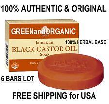 6x Bars  GENUINE JAMAICAN BLACK CASTOR OIL SOAP 100%Natural Herbal Face