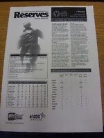 28/08/2002 Wolverhampton Wanderers Reserves v Burnley Reserves  (Single Sheet).