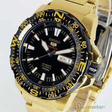 SEIKO 5 SPORTS AUTOMATIC GOLD TONE BLACK FACE SRP548J1 SRP548