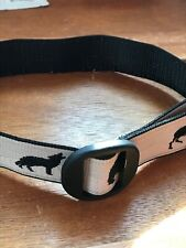 Gently Used Black & Cream Embroidered Outdoor Wildlife Wolf Bear Deer Kids Belt