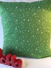 """Festive 16"""" x 16"""" Cushion Cover in Green with White Stars"""