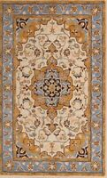 Classic Traditional Floral Ivory Oushak Oriental Hand-Tufted 5x8 WOOL Area Rug