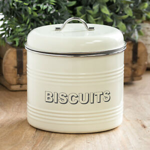 3.5 Litre Cream Biscuit Storage Container Jar Tin Cookie Barrel Kitchen Canister