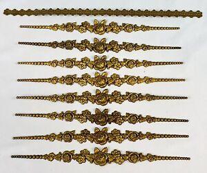 Vtg Floral Brass Dresser Furniture Embellishment Decorative Hollywood Regency