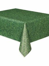 "Green Grass Design Realistic Look Plastic Table cover 54"" x 108"" Football Party"