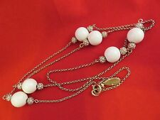 & Rhinestones by Ann Taylor (991) Golden Tone Chain Necklace w White Beads