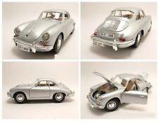 PORSCHE 356 B COUPE 1961 argento, modello di auto 1:18/BURAGO