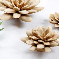 FT- Wooden Lotus Flower Figurine Handmade Home Office Desktop Craft Ornament Dec