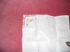 Vintage NEW boxed white cotton LADIES HANDKERCHIEF hand embroidered floral motif
