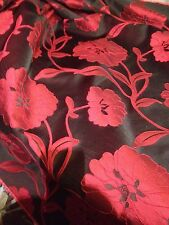"Red and black curtain fabric, material for curtains and cushions. 58"" Wide"