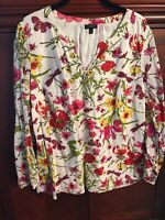 new Talbots S Poplin Pop Over Tunic Top Floral Pink Green 3/4 sleeve Lilly