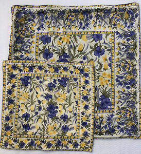 """April Cornell Pillow Covers Yellow Purple Vintage 22"""" & 15"""" Lot of 2 EUC Country"""
