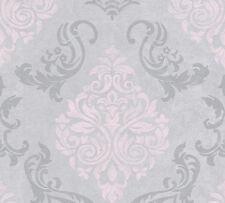 Vliestapete Barock Glitzer AS Creation Memory grau rosa 95372-6 (2,98€/1qm)