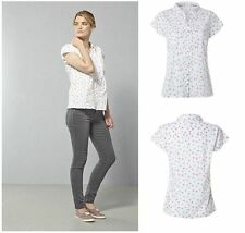 Floral Semi Fitted Collared Short Sleeve Women's Tops & Shirts