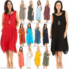 Round Neck Dresses for Women with Pockets Sleeveless