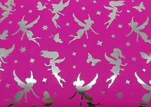 Pink Birthday Gift Wrap Wrapping Paper 2 Sheets 2 Tags Silver Fairy Butterflies