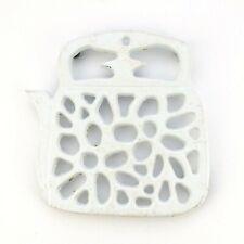 Vintage Cast Iron Trivet Teapot Shaped as a Teapot White Enameled
