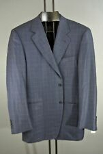 Canali Mans Navy Blue Blazer Jacket Checkered Silk wool 42R Work Casual*1008