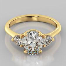 2.60 Carat Oval Solitaire Diamond Engagement Ring 14K Solid Yellow Gold Rings