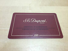 New - S.T. DUPONT - Carte de Garantie + Booklet - French - For Collectors