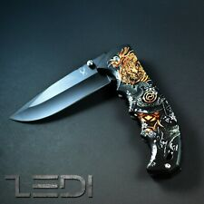 Folding Pocket Knife Survival Hunting Knife Stainless Steel Spring Assisted Clip