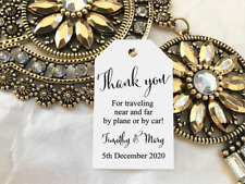 10 White Gift Tags Wedding Favour Bomboniere Personalised Thank you for travel