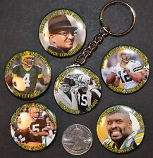 """Set of 6 -  5 Pinback Buttons and Key Chain 1 1/2"""" Green Bay Packers Greats"""