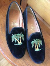 Stubbs & Wootton Black Velvet Palm Tree Slip On Loafers Smoking Shoes 7