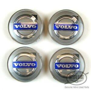 4 OEM Volvo Silver Center Hub Caps for S60 V70/XC70 S80 XC90 C70 S40 V50 C30