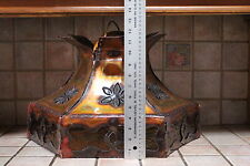 Hand Made Copper Ceiling Hanging Lamp Yellow Amber Glass Copper Shade Daisy