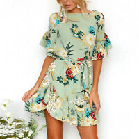 Womens Floral Print Summer Beach Holiday Casual Loose Blouse Mini Short Dress