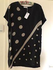 Coster Copenhagen Ladies Black Dot Print Dress Sz 12 BNWT